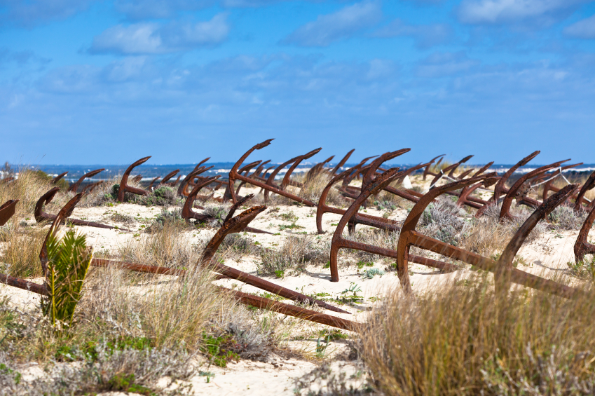 Cemetery of the old anchors, Portugal ocean coast