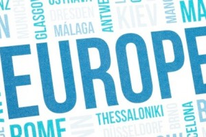 Europe cloud concept print, national capitals of countries and other cities words text background, blue toned and vignette added