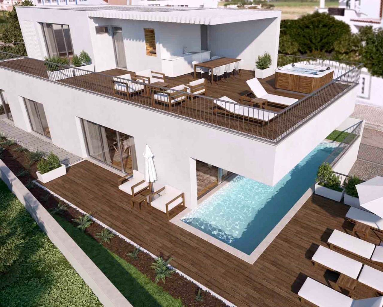 Villa contemporaine de 3 chambres avec piscine individuelle, terrasses à Ferragudo  - 3 Chambres