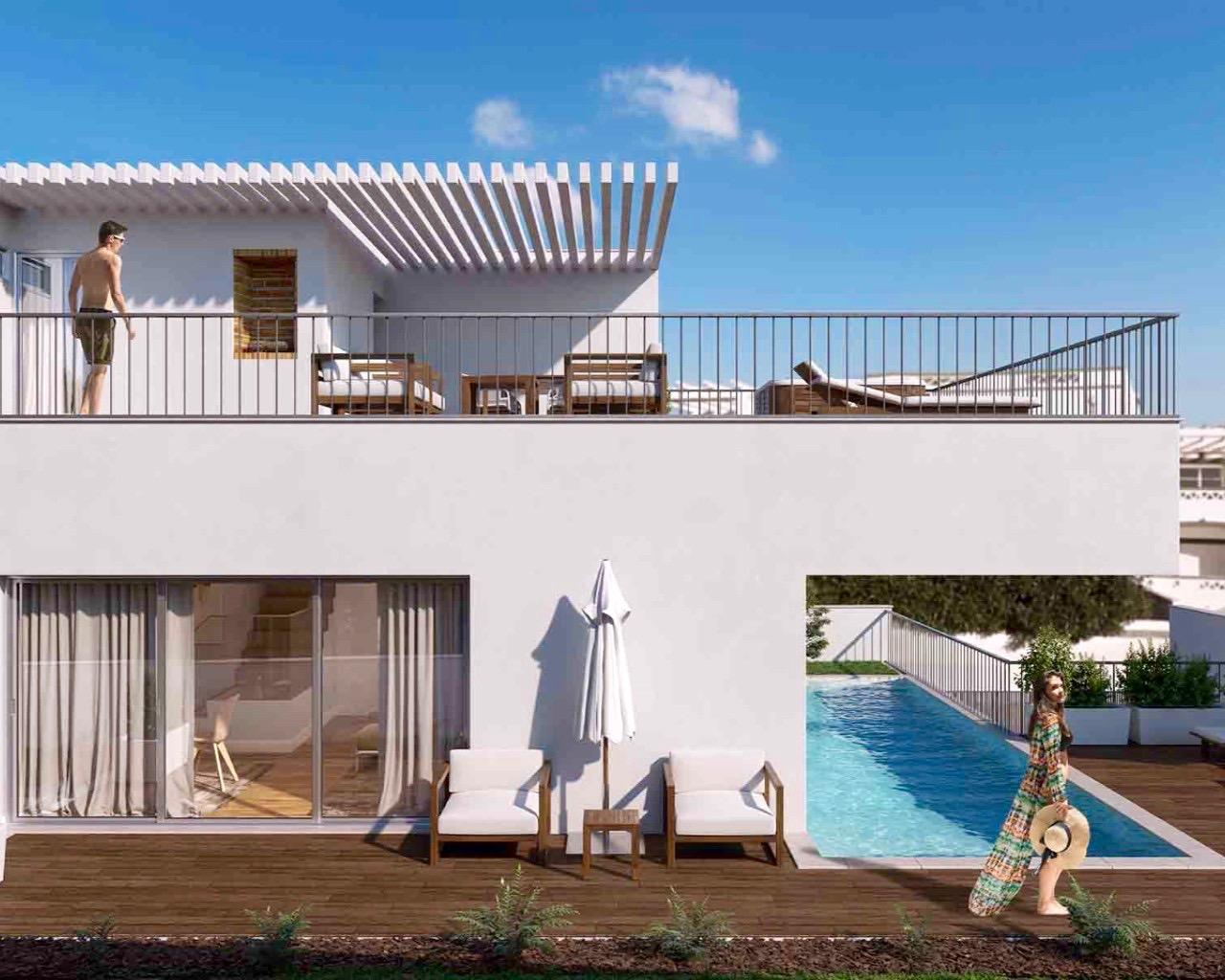 Villa contemporaine de 3 chambres avec piscine individuelle, terrasses à Ferragudo  - Algarve